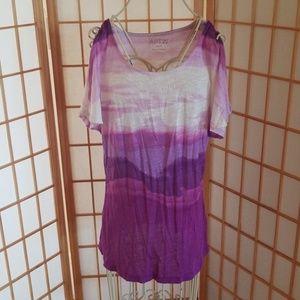 Apt. 9 Purple White Tie Dye Tee Shirt